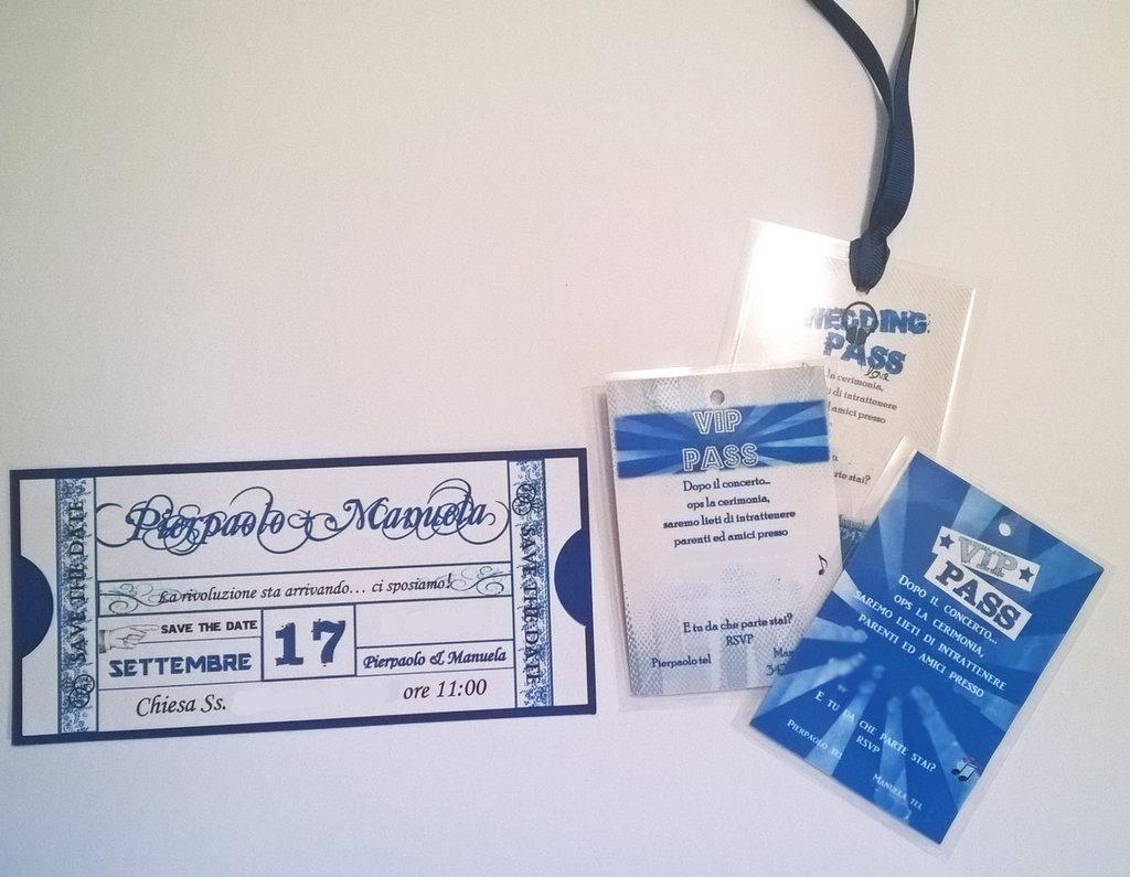 Partecipazione Nozze a tema Musica - Biglietto concerto e pass