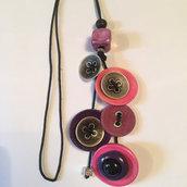 collana con bottoni e argento pezzo unico