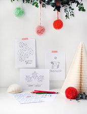 Set con 8 cartoline di Natale in bianco e nero