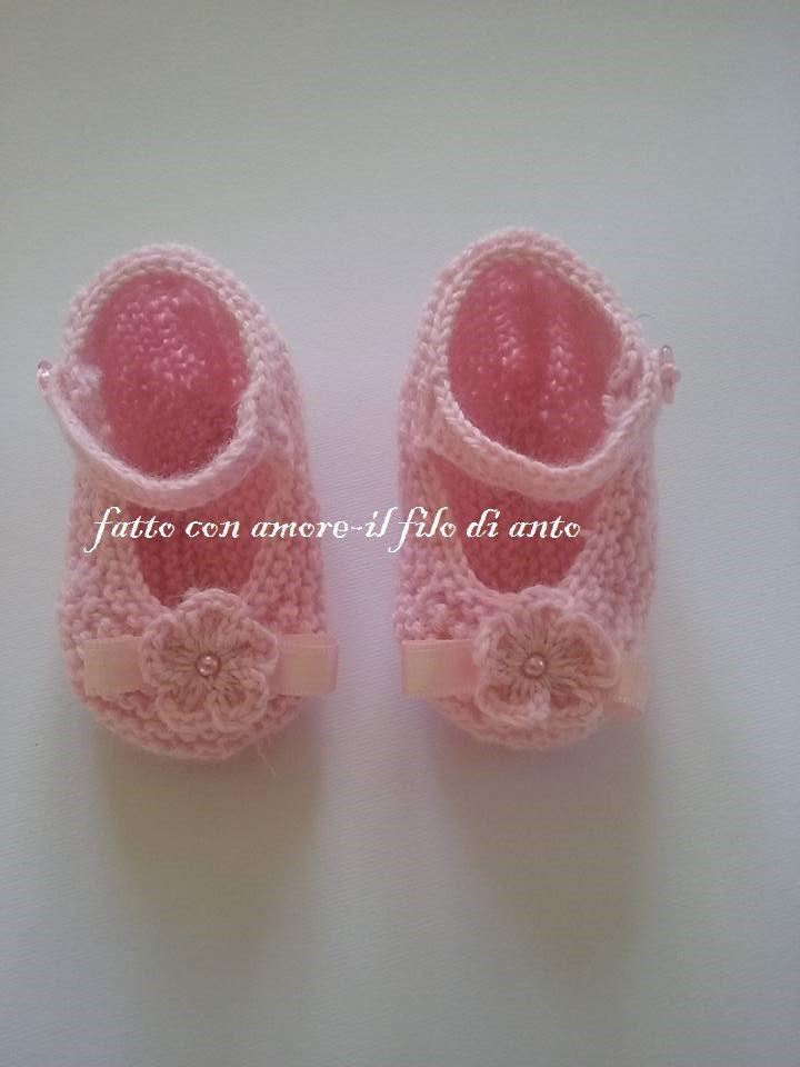 Scarpine ballerine in lana rosa con fiore