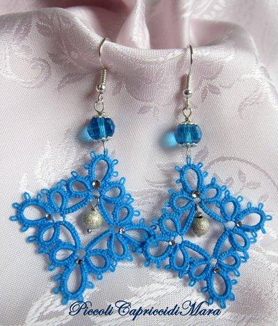 Orecchini azzurri al chiacchierino, cristallo azzurro, perla in Argento 925