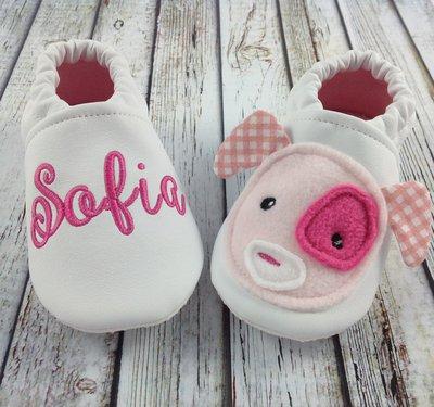 Scarpine ecopelle Cagnolino rosa personalizzate con nome e con suola antiscivolo