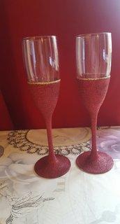 bicchieri di champagna glitter natalizio(set 2 pezzi)