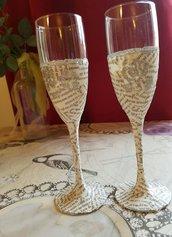 bicchieri di champagna decoupage pezzi giornale