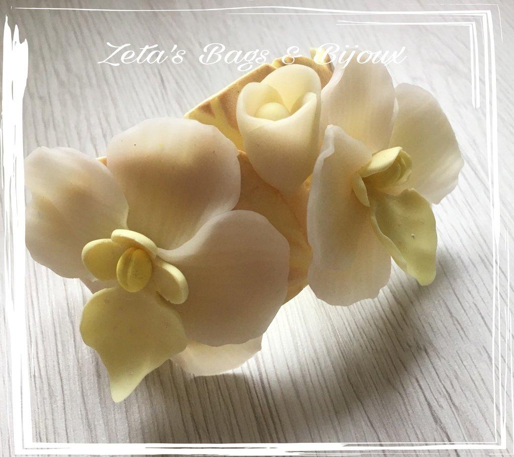 Bracciale con orchidee in argilla polimerica