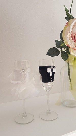 bicchieri di champagna flute per matrimonio(set 2 pezzi)