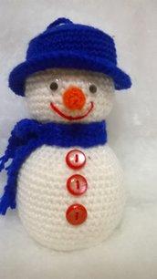 pupazzo di neve, amigurumi,  idea regali, blu elettrico
