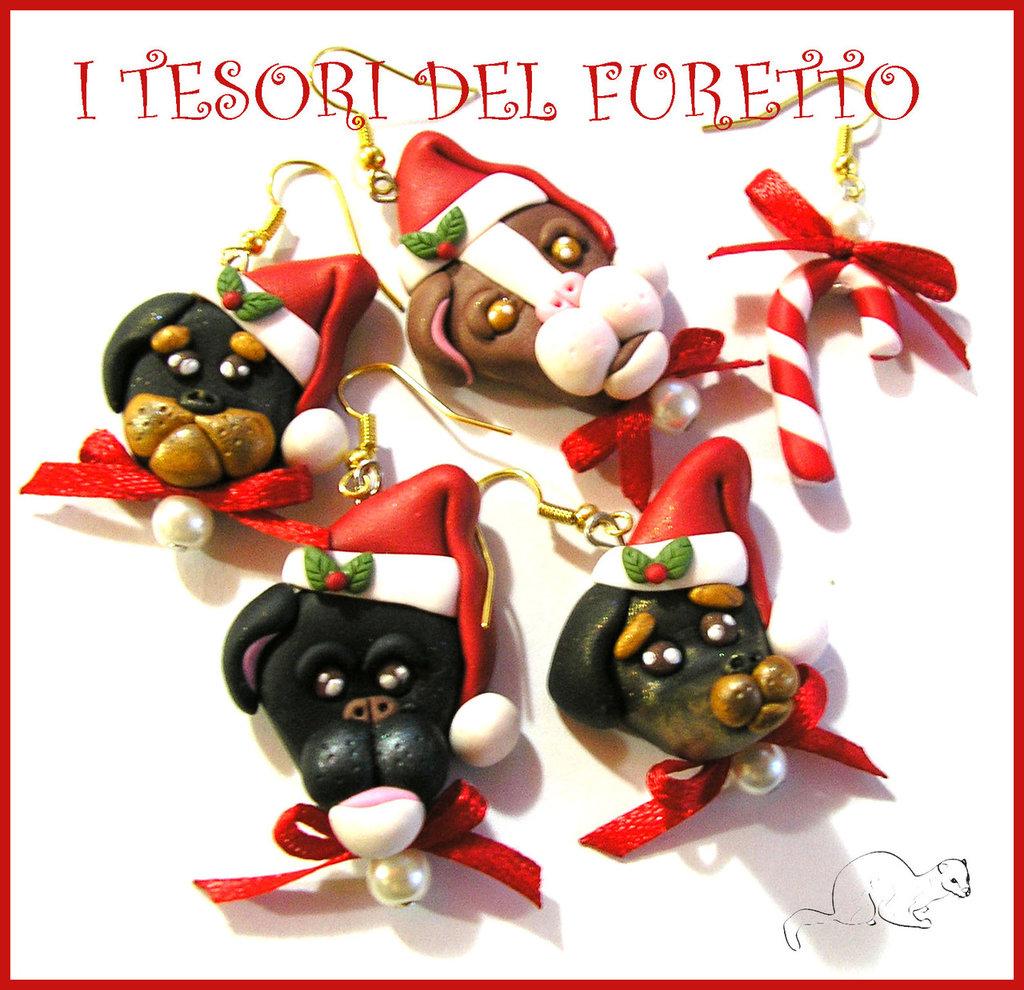 Riservato per Vanessa Parure natalizie cagnolini pittbull rottweiler bassotto