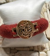 LOVE BRACCIALE BANGLE DA DONNA IN LANA HANDMADE IDEA REGALO