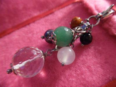 Ciondolo-charm con pietre naturali (cristallo rocca) e acciaio inox