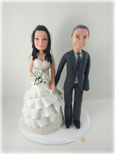 Cake topper sposi caricatura in porcellana