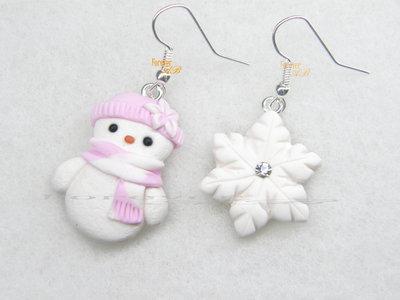 Orecchini omino di neve fiocco pupazzo rosa kawaii fimo regalo natale