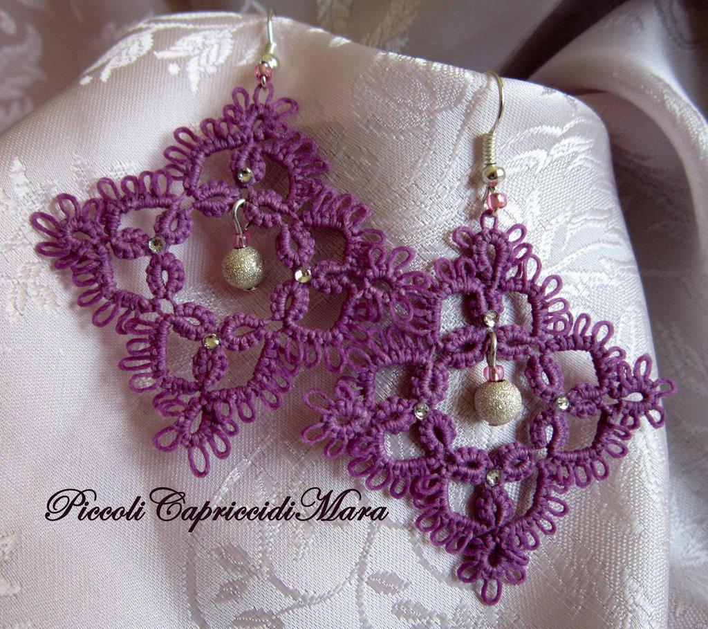 Orecchini viola al chiacchierino, perla in Argento 925, perline rosa, strass