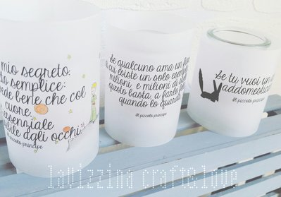 Lanterne in vetro e carta con decorazioni stampate e dipinte a mano