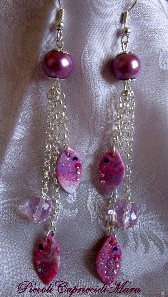 Orecchini in pasta di mais, con perla e cristallo