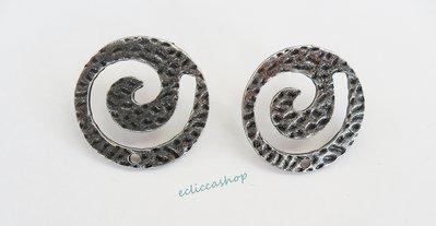 Base orecchini martellati rotondi colore grigio nickel free 1coppia