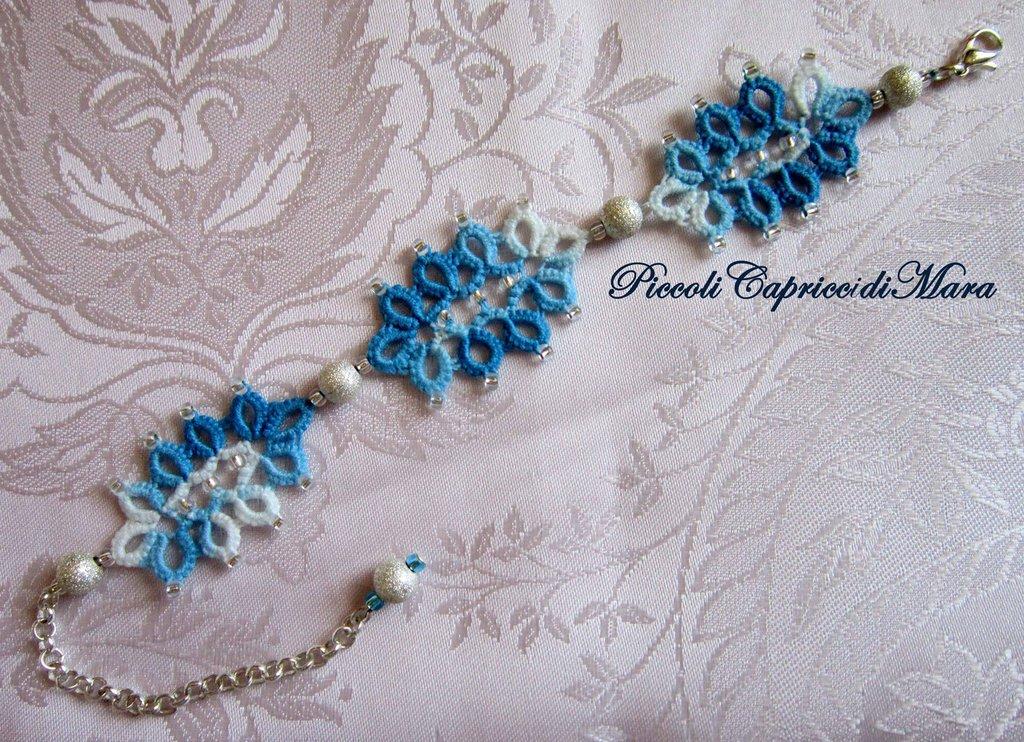 Bracciale azzurro al chiacchierino, perle in Argento 925
