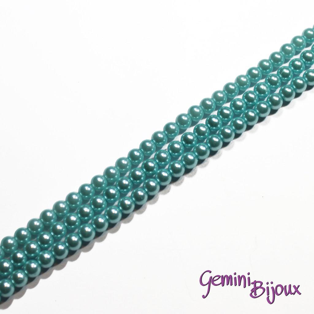 Lotto 20 perle tonde in vetro cerato 6mm azzurro