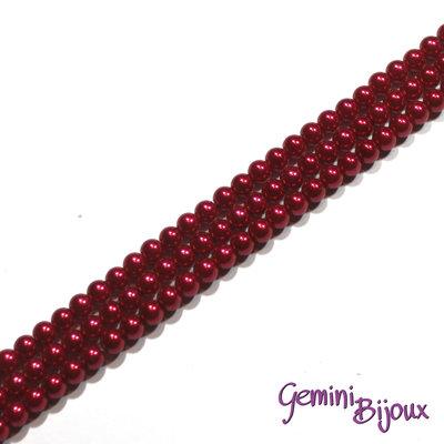 Lotto 20 perle tonde in vetro cerato 6mm dark red