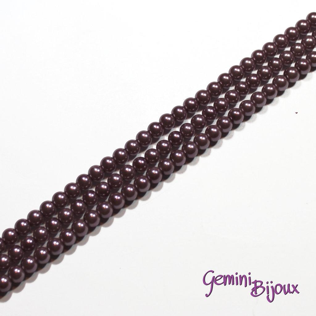 Lotto 20 perle tonde in vetro cerato 6mm viola scuro