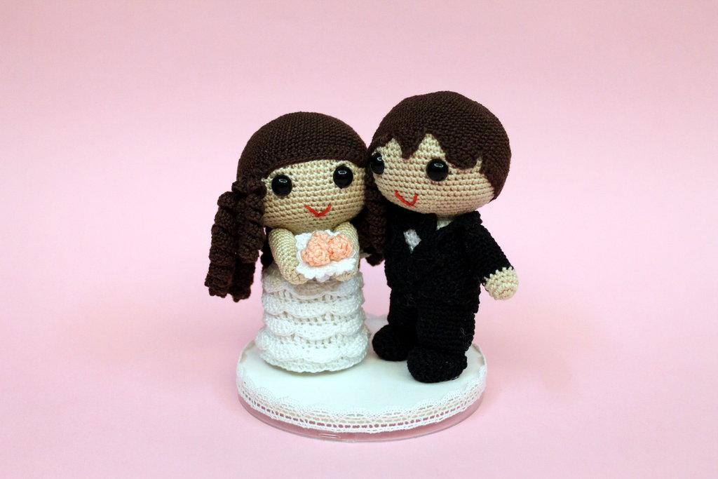 Sposini amigurumi cake topper decorazione torta nuziale matrimonio (realizzabili su ordinazione)