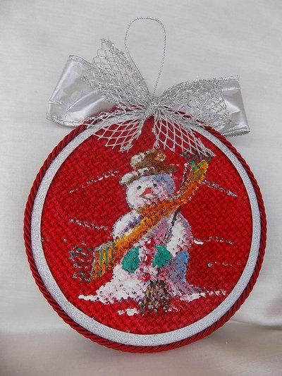 Medaglione Natalizio  decorato a mano per addobbo albero di Natale