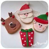 biscotti decorati natalizi, idea regalo natale,elfo, babbo natale, renna, guanto, regalo, scarpone, cappello