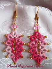 Orecchini (rosa) al chiacchierino, cristallo rosa, perline dorate