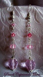 Orecchini con cristalli rosa (versione argento)