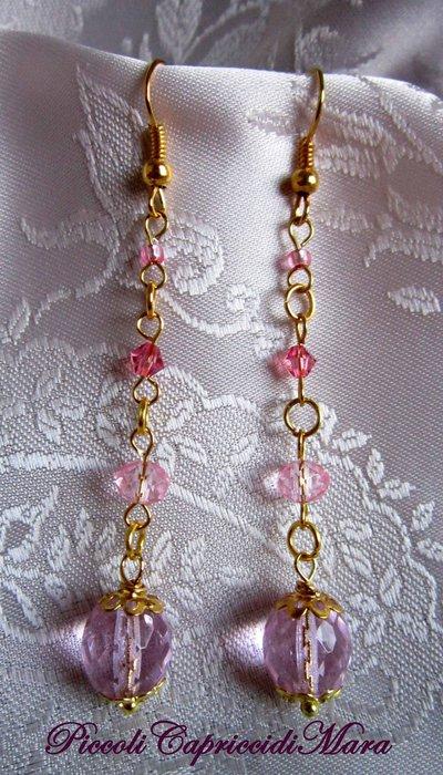 Orecchini con cristalli rosa (versione oro)