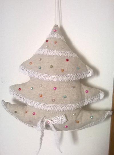 Albero di Natale di stoffa imbottito in lino , fuori porta shabby chic, addobbi natalizi