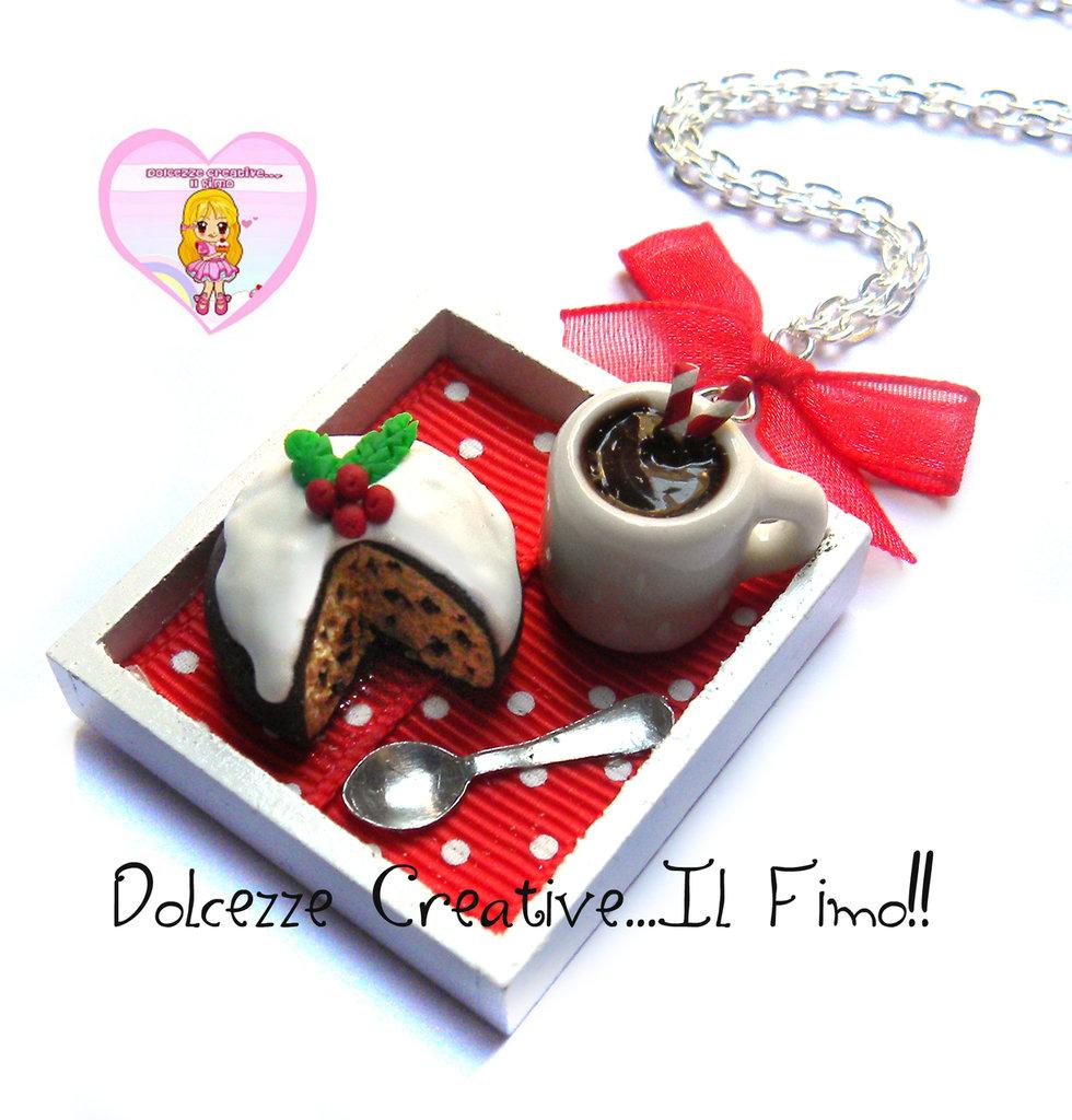 ☃ Natale In Dolcezze 2016 ☃  Collana vassoio panettone e tazza di cioccolata con bastoncino di zucchero