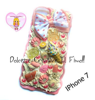 Cover Iphone 7 - panna pastel goth caramelle cioccolato orso cupcake cornetto gelato handmade