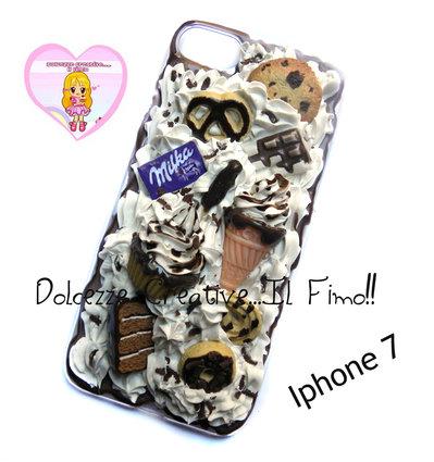 Cover Iphone 7 - panna pastel goth cioccolato cupcake cookie  torta donut fimo cernit handmade