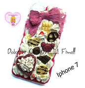 Cover Iphone 7 - panna pastel goth fiocco viola caramelle cioccolato orsetti  torta fragole banana
