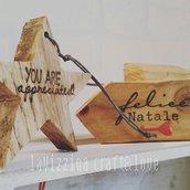 Stelle in legno da appendere fatte a mano (confezione da 15)