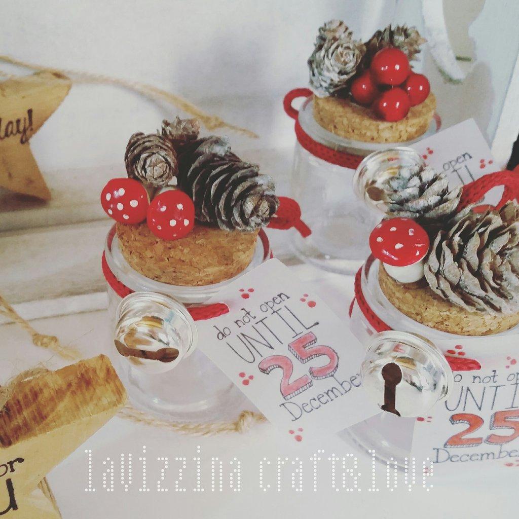 Barattolini in vetro con decorazione natalizia (3 pz)