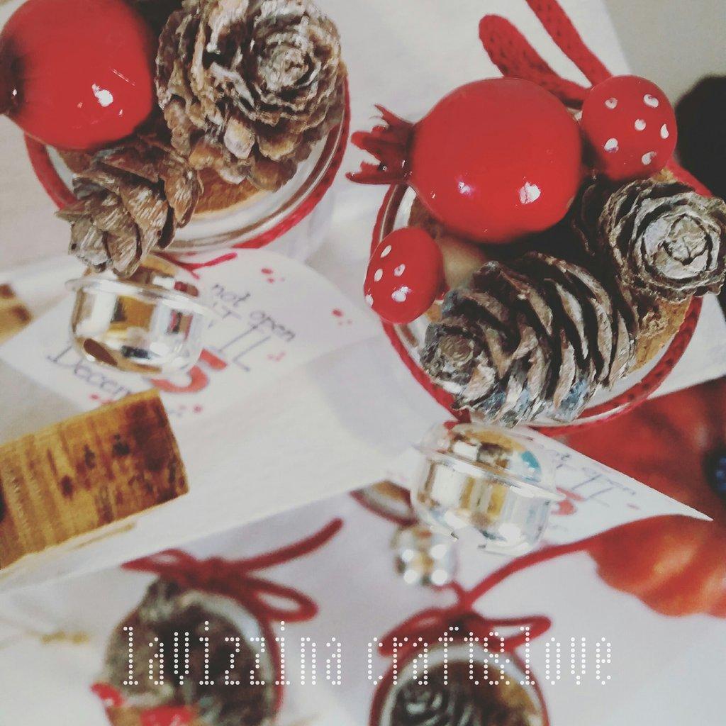 Barattolini in vetro con decorazione natalizia (6 pz)