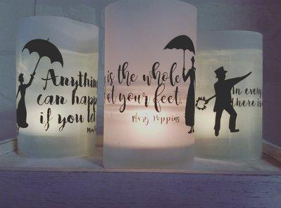 Lanterne in vetro e carta con decorazioni stampate e dipinte a mano (3 pz)