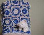 Coperta culla, Copertina lavorata ad uncinetto per neonato in cotone pettinato color blu avio e ghiaccio. Pronta consegna