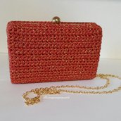 POCHETTE CLUTCH BAG  A UNCINETTO ELEGANTE IDEA REGALO HANDMADE