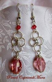 Orecchini chainmail, cristallo e swarovski rosa corallo (versione argento)