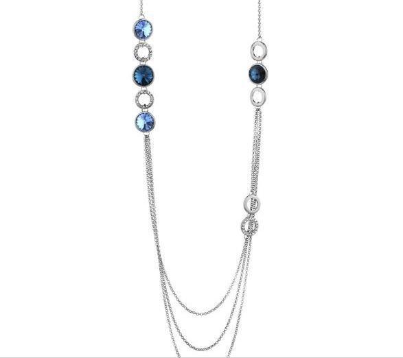 Collana montata su base color argento con cristalli swarovski e componenti circolari in acciaio rodiato idea regalo Natale per lei