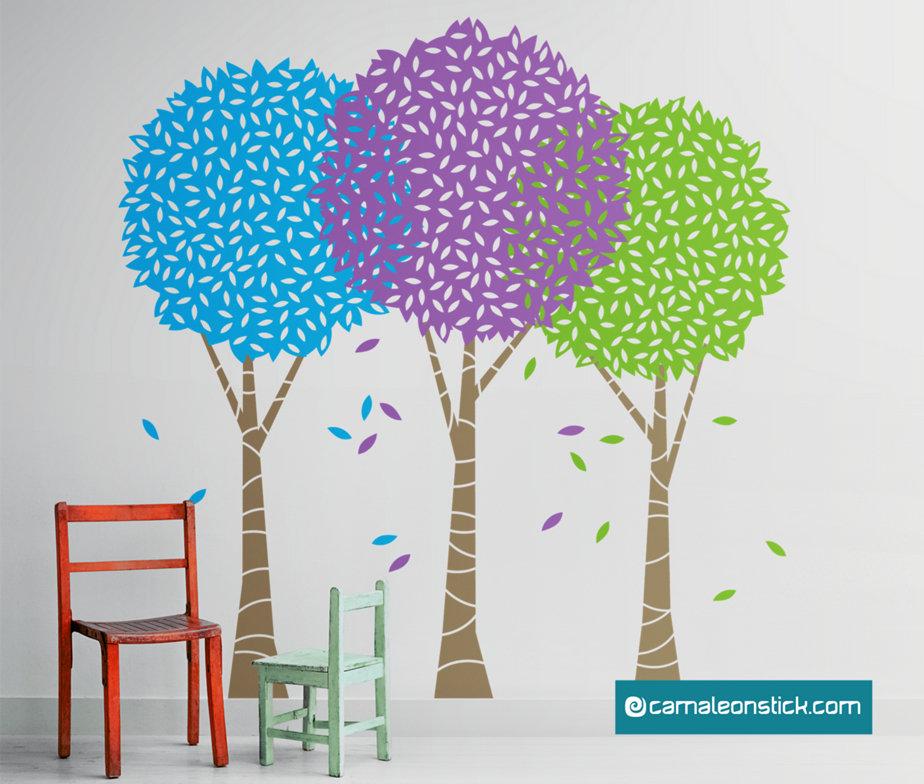 Alberi colorati adesivo murale per bambini sticker da - Alberi decorativi da parete ...