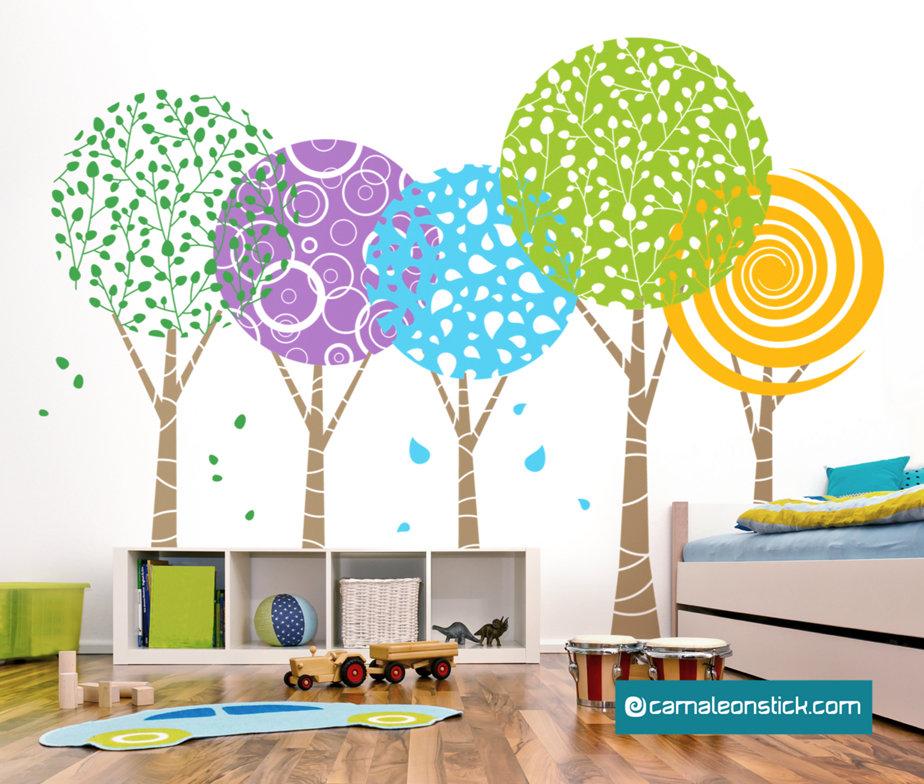 Alberi fantasia adesivo murale per bambini sticker da - Decorazione parete cameretta ...