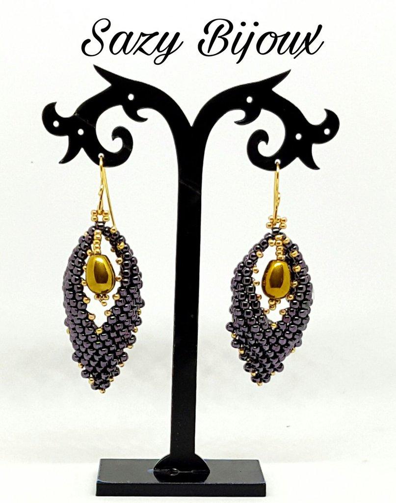 HOJAS: Orecchini a Foglia in tessitura di perline Viola e Oro