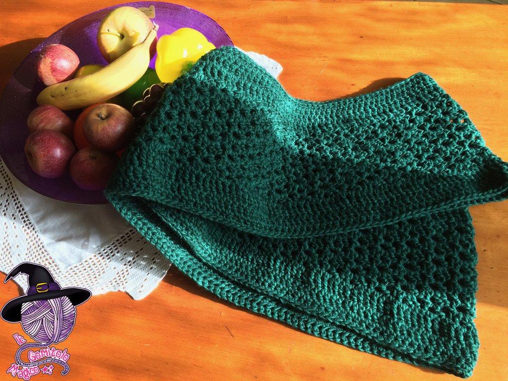 Sciarpa infinity in lana con motivi a ventaglio