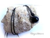 Collana ciondolo Pietra Ossidiana nera da uomo o donna perla colore nero,gioielli di perle,chakra
