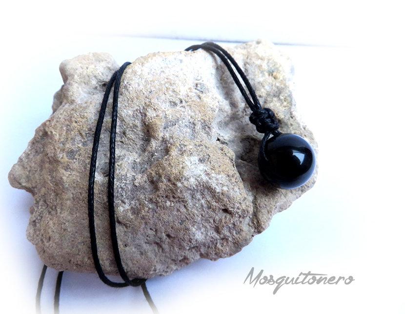 Collana Ossidiana uomo o donna perla da 14mm colore nero