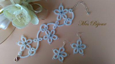 Orecchini e bracciale, parure in pizzo chiacchierino  bianco con fiori , idea regalo Natale